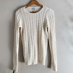 St. John's Bay Cable Knit Cream Sweater Top